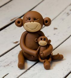 RESERVED for SANNETTA, Brown Monkey and Baby, Polymer Clay by Creative Contours