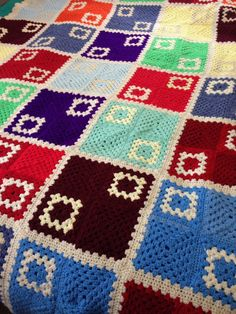 Vintage Colorful Unique Granny Square Afghan Blanket by reDuxGoods