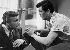 "Jeff Chandler & Rock Hudson in a scene from the 1951 Universal - International motion picture ""The Iron Man"""