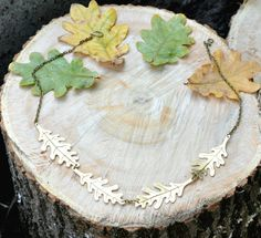 Oak leaves necklace Brass necklace Statement by SpiceWildflowers