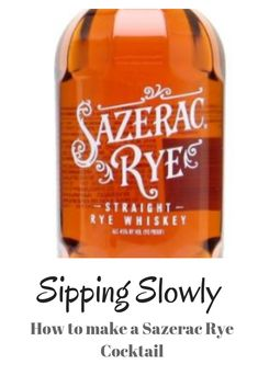How to make a Sazerac Rye cocktail. It is so easy. Sazerac Rye, Rye Cocktails, Whisky, Bubbles, Easy, How To Make, Whiskey
