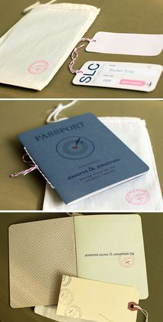travel themed wedding invite - passport as main invite with vintage shipping tags as coupons + muslin as envelope (appropriately stamped with monogram/wedding date)