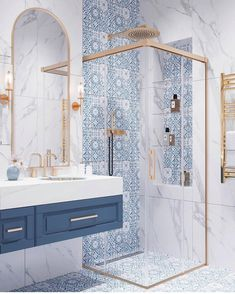 Home Interior Contemporary greek style blue and white bathroom with gold accents.Home Interior Contemporary greek style blue and white bathroom with gold accents Guest Bathrooms, Small Bathroom, Bathroom Ideas, 1950s Bathroom, Bling Bathroom, Disney Bathroom, Bathroom Vinyl, Modern Bathroom, Budget Bathroom