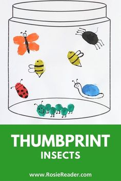 These thumbprint insects were SUPER FUN and EASY to make! We love thumbprint art ideas for kids and this one by far is our favorite! The free jar printable is the icing on the cake! Craft Projects For Kids, Crafts For Kids To Make, Art For Kids, Activities For Kids, Celiac Disease In Children, Reading Adventure, Thumb Prints, Finger Painting, Valentines For Kids