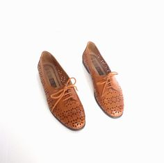 Vintage 80's Tan Leather Cut Out Oxfords 9 by calliopevintage. $36.00, via Etsy.