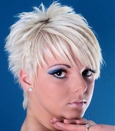 backs of Short Choppy Hairstyles For Women | short blonde straight spikey choppy coloured Layered Womens haircut ...