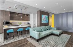 Above a green sofa, a large piece of multicoloured wall art is on display, which ties in the shade of nearby bright blue bar stools. Kids Room Paint, Room Paint Colors, Bedroom Color Schemes, Bedroom Colors, Best Interior Paint, Interior Design, Futuristisches Design, Sofa Colors, Green Sofa