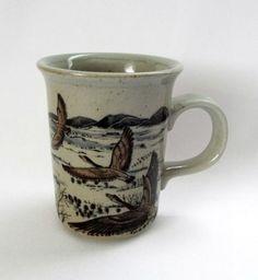 Pottery Coffee Mug Mallards Geese Nature Woods Birds Waterfowl Brown Cup 8 oz