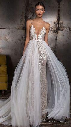 33f0f93548ec23 crystal design 2018 sleeveless thin strap deep v neck heavily embellished  bodice romantic sheath wedding dress a line overskirt chapel train open  back ...