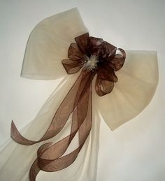 would be pretty with navy instead of brown // Pew Bows Chocolate Kisses Wedding Bows for Pews by shannonkristina
