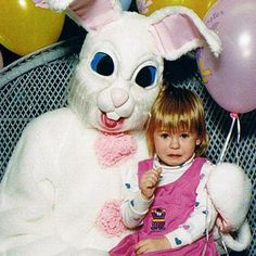 I see your creepy Easter Bunny picture and raise you one of my friend's childhood experiences