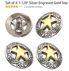 1-1//2 Saddle Bright Silver Round Berry Concho W// 1//4 Chicago Screw Back Set of 4