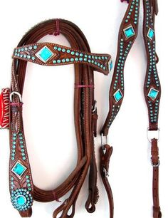 Showman Tan Leather Western Headstall Breastplate Show Tack Green Blue Set | SO CUTE