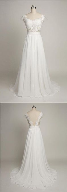 Simple A-line Wedding dress, Cap Sleeves wedding dress,Sweetheart Long Chiffon…