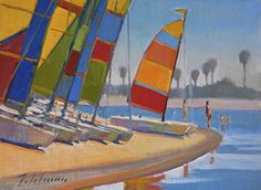 Beach Cats by Mark Fehlman Oil ~ 12 x 16