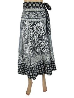 Long Wrap Skirts Hippie Indie White Black Parrot