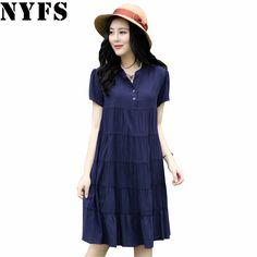 2017 New Vintage Summer Dress Vestidos Robe Loose Plus Size Short Sleeve Print Office Women Dress