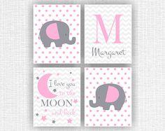 Pink and Gray Jungle Animals nursery Printable Elephant