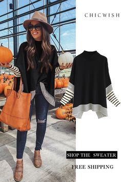 Free Shipping & Easy Return. Up to 30% Off. Lie in Caramel Fields Striped Oversize Knit Cape Sweater featured by fashionablykay Casual Outfits, Cute Outfits, Fashion Outfits, Womens Fashion, Fall Winter Outfits, Autumn Winter Fashion, Casual Fall, Casual Chic, Swagg