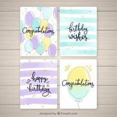 Birthday cards collection with balloons Free Vector