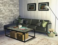 Erik and Sara's TV room. A little more industrial and personal than their dining area. Sims 4, Dining Area, Industrial, Couch, Tv, Room, Furniture, Home Decor, Bedroom