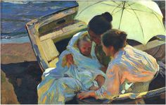 Sorolla y Bastida, Joaquin (Spanish, 1863-1923) - After the Bath - 1902