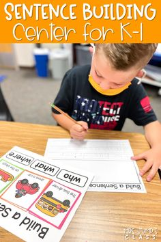Build confidence with this sentence-building, literacy center for kindergarten and 1st grade! Color-coded cards help students identify sentence parts and create fun, complete sentences!