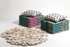 Decoracion y diseño-Decoración Living- DECOCASA » Ecoideas: muebles y accesorios con maples de huevos