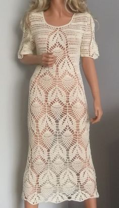 cream crochetcotton dress by ALDOARThandmade on Etsy