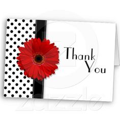 Red Gerber Black White Polka Dot Wedding Thank You Cards