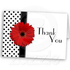 Red Gerber Black White Polka Dot Thank You Cards