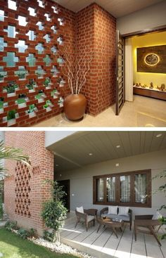 Bungalow Decor, Modern Bungalow, Indian Seating, Wooden Staircases, Brick Patterns, Cozy Corner, Grand Entrance, Exposed Brick, Stone Flooring