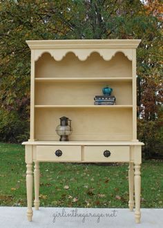 A classic hutch makeover with a special wax treatment to give it a lovely aged look. Diy Furniture Projects, Paint Furniture, Furniture Making, Diy Projects, Furniture Repair, Woodworking Projects, Refurbished Furniture, Repurposed Furniture, Vintage Furniture