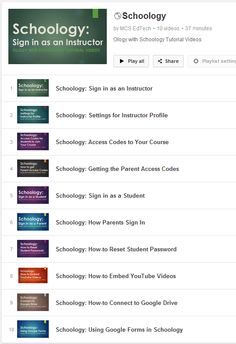 Schoology YouTube Tutorial Videos Playlist