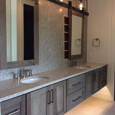 Master Bath in Hickory with Morel Stain Cambria Darlington #coolmedicinecabinet #durasupreme #cambria