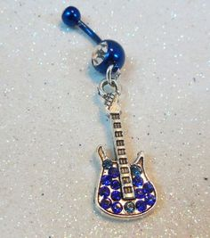 Belly ring, belly button ring w sapphire and aqua blue crystal guitar 14ga | YOUniqueDZigns - Jewelry on ArtFire