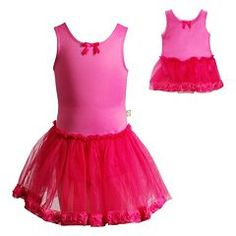 Girls 4-14 Dollie & Me Fuchsia Sleeveless Tulle Skirted Leotard Set