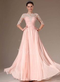Evening Dresses - $193.52 - A-Line/Princess Scoop Neck Floor-Length Chiffon Evening Dress With Beading (0175093586)