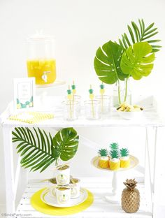 Pineapple Party Ideas with DIY birthday decorations, printables, food and favors and a fab photo booth idea for capturing those memories! - BirdsParty.com