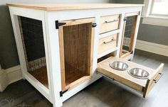 DIY Dog Crate Console DIY Dog Crate Console - Shanty 2 Chic<br> This DIY Dog Crate Console is the perfect combination of form and function. This will accommodate two large dog, it has plenty of storage! Dog Crate Table, Wood Dog Crate, Crate End Tables, Dog Crate Furniture, Diy Dog Crate, Furniture Plans, Crate Desk, Crate Bookcase, Crate Nightstand