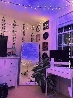 Room Design Bedroom, Room Ideas Bedroom, Diy Bedroom, Modern Bedroom, Bedroom Inspo, Bedroom Vintage, Chambre Indie, Retro Bedrooms, Blue Bedrooms