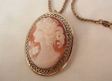 August sale many items reduced from 20 to 60% off Visit my Ruby Plaza Shop Link on home page Beau Sterling beautiful portrait Cameo brooch Necklace 12K GF