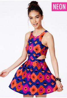 Shantel Cut Out Skater Dress In Neon Tribal Print - Dresses - Skater Dresses - Missguided