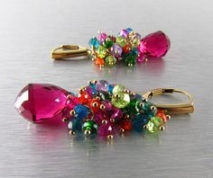 Colorful Quartz Earrings Gold Filled Wire Wrapped Cluster