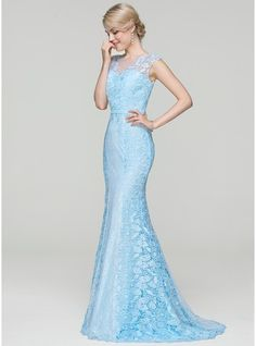 Trumpet/Mermaid Scoop Neck Sweep Train Zipper Up Cap Straps Sleeveless No Sky Blue Spring Summer Fall General Plus Lace Height:5.7ft Bust:33in Waist:24in Hips:34in US 2 / UK 6 / EU 32 Evening Dress