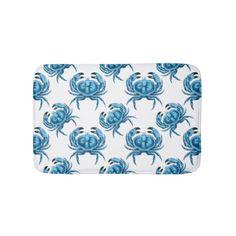Blue Crabs Seaside Bath Mat - A cute coastal themed bath mat in blue and white, sold at DancingPelican on Zazzle. #bathroomdecor #coastal #beachhouse