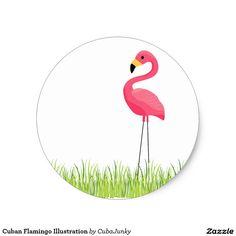 Cuban Flamingo Illustration Classic Round Sticker @zazzle #junkydotcom July 29 2016