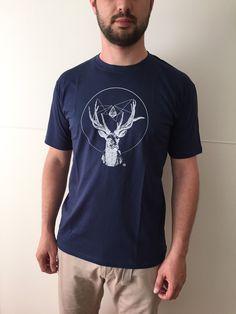 Man Deer Spirit of Nature TShirt Cotton L XL 2XL Marina BLUE di ZenCircles su Etsy https://www.etsy.com/it/listing/251422510/man-deer-spirit-of-nature-tshirt-cotton