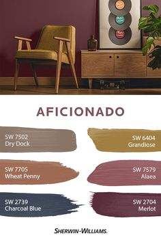 Well-worn, nostalgic style has never looked so fresh and modern. The Aficionado palette from our 2019 Colormix® Forecast features hues that bring but… Dining Room Colour Schemes, Dining Room Paint Colors, Bedroom Wall Colors, Kitchen Paint Colors, Wall Paint Colors, Bedroom Color Schemes, Interior Paint Colors, Paint Colors For Home, House Colors
