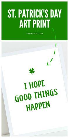 Free downloadable St. Patrick's Day Art Print #stpatricksday #stpatricksdaydecor